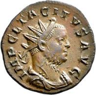 Tacitus (275 - 276): Bronze Antoninian, Lugdunum (Lyon). Büste Mit Strahlenkrone Nach Rechts, IMP CL - 5. The Military Crisis (235 AD To 284 AD)