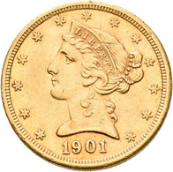 Vereinigte Staaten Von Amerika - Anlagegold: 5 Dollars 1901 S (Half Eagle - Liberty Head Coronet, Sa - Sin Clasificación