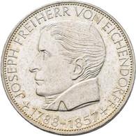 Bundesrepublik Deutschland 1948-2001: 5 DM 1957 J, Freiherr Von Eichendorff, Jaeger 391. Feine Kratz - Unclassified