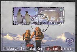 OCB Nr 3884/85 BL166 Fauna Arctic Pinguin Polar Glaciers Climate Mileu Earth Ours Ijsbeer Centrale Stempel - Usados