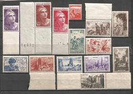 FRANCE ANNEE 1945 N°731 à 733,736 à 740,742 à 745NEUFS** MNH TB COT 25,90 € REMISE-90% - Nuovi