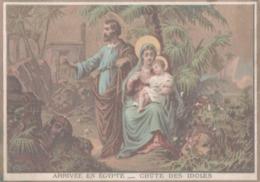 CHROMO  IMAGE RELIGIEUSE  ARRIVEE EN EGYPTE  CHUTE DES IDOLES - Imágenes Religiosas