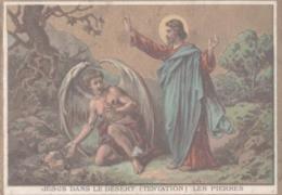 CHROMO  IMAGE RELIGIEUSE  JESUS DANS LE DESERT  TENTATION  LES PIERRES - Imágenes Religiosas