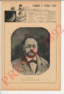 Gravure 1892 Portrait Emile Zola (René Quintin - Vitou ) Président De La Société Des Gens De Lettres Diner Maigre 241/15 - Zonder Classificatie