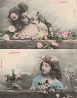 THEMES - FLEURS - EGLANTINE ET ROSE - 2 CARTES - Bloemen