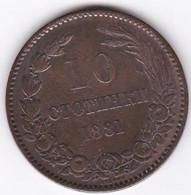 BULGARIE. 10 STOTINKI 1881 HEATON. ALEXANDRE I . BRONZE. KM# 3 - Bulgaria