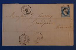 J7 FRANCE BELLE LETTRE 1858 REIMS POUR GRANDPRé  ARDENNES + AFFRANCHISSEMENT INTERESSSANT - 1853-1860 Napoleon III