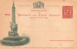 """02295 """"INAUGURAZIONE DEL MOVIMENTO DELLE CINQUE GIORNATA - MILANO 18 MARZO 1895 - NR. 56745"""" CART  NON SPED - Inaugurazioni"""
