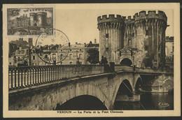 FRANCE N° 445 90  Ct VERDUN PORTE CHAUSSEE Sur Carte Maximum En 1951 (voir Description) - 1930-39