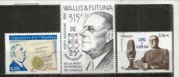 Hommage Au Général De Gaulle.  3 Timbres Neufs  ** Wallis-Futuna & France (Poste Aérienne) - De Gaulle (Generaal)
