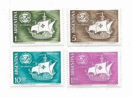 ARGENTINA 1960 SHIPS UPU ANNIVERSARY 4 VALUES MINT NH SCOTT 720/1 C78/9 MICHEL 745/8 - Oblitérés
