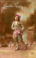 CP - Bonne Année - Fillette Avec Panier De Fleurs  - Dix - - Neujahr