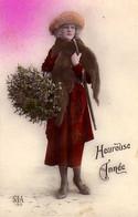 CP - Heureuse  Année - Femme Avec Un Bouquet De Gui Et Chapeau Sur La Tête - SIA - Neujahr