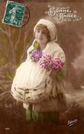CP - Bonne Année - Femme Avec Manchon Et Chapeau - Gloria - - Neujahr