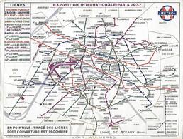 Exposition Internationale 1937 PARIS - Plan Métro - Publicite Hyostinal Bioplastine Endoxidie Soporigène - Dépliants Turistici