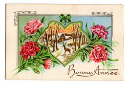 Bonne Année --carte Mignonnette Double --Paysage De Village Sous La Neige (cerf,fleurs).... à Saisir - Neujahr