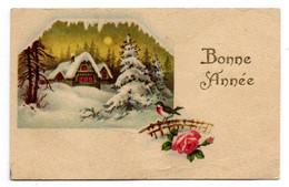 Bonne Année --carte Mignonnette -Paysage De Village Sous La Neige  (fleurs ,oiseau).... à Saisir - Neujahr