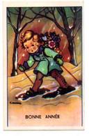 Bonne Année --carte Mignonnette Signée -- Enfant Sur Skis ........... à Saisir - Neujahr