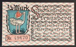 Sza.20 - Germany 1921 Notgeld Banknote 1/2 Mark Strausberg Grabowski/Mehl 11281.1-3/6  UNC - [11] Local Banknote Issues