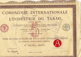 RARE ACTION Compagnie Internationale Pour L'Industrie Du Tabac Paris  1924 B.E.VOIR SCANS - Agricoltura