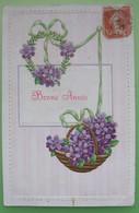CARTE GAUFRÉE Paniers De Fleurs Violettes- BONNE ANNÉE - Fantaisie - Neujahr