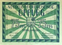 Sza.20 - Germany 1921 Notgeld Banknote 75 Pfennig Oppurg Grabowski/Mehl 1023.1b-4/4 UNC - [11] Local Banknote Issues
