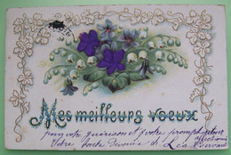 CARTE GAUFRÉE ET TISSU - MEILLEURS VŒUX - Fantaisie, Fleurs, Muguet - DOS SIMPLE - Neujahr