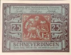 Sza.20 - Germany 1921 Notgeld Banknote 25 Pfennig Schneverdingen Grabowski/Mehl 1193.2-1/2 UNC - [11] Local Banknote Issues
