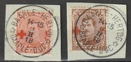 """Belgie 1918 Red Cross, Rode Kruis. Prachtige Stempels """"BAARLE-HERTOG * BAARLE-DUC *"""" Yvert 150-151 - 1918 Cruz Roja"""