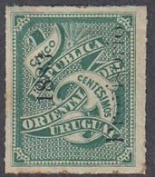 Uruguay, Scott #52, Mint Hinged, Numeral Overprinted, Issued 1883 - Uruguay