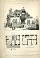 PLANCHE ARCHITECTURE VERS 1880 VILLA A SAINT BREVIN LOIRE ATLANTIQUE ARCHITECTE CHAIZE EN TRES BON ETAT - Architectuur