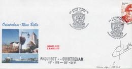 Enveloppe Souvenir Avec Timbre St Pierre Et Miquelon 1er Jour à Ouistréham - Signée DERIBLE. - Sellos Personalizados