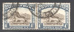 1932  1/-  Wildebeest  SG 48  Rotogravure  Used Bilingual Pair - Usati