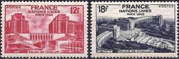 France 1948 - Mi 828/29 - YT 818/19 ( Palais De Chaillot - United Nations ) MNH** - Nuovi