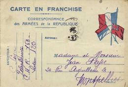 CARTE EN FRANCHISETelephoniste C.H.R. 163 Secteur 123 Vers Montpellier RV - Otros