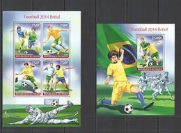 ST2699 2014 NIGER SPORT FOOTBALL WORLD CUP BRAZIL KB+BL MNH - 2014 – Brazilië