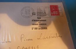 TIMBRE DE GREVE   SUR ENVELOPPE  ST  FOY  LA  GANDE - Strike Stamps