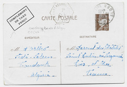 ENTIER 80C CP PETAIN ALGER MUSTAPHA 19.5.1942 + SURCHARGE LOCALE D'ALGER COMPLEMENT DE TAXE PERCU COTE SINAIS 150€ - Cartoline Postali E Su Commissione Privata TSC (ante 1995)