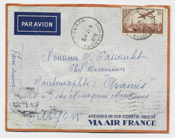 PA N°13 SEUL LETTRE AVION FOURAS 29.9.1936 CHARENTE INF POUR SAIGON - 1921-1960: Modern Period