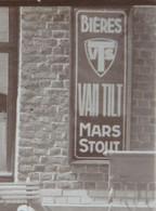 Photo STAVELOT Vers 1925 Café Terrasse Staminet Publicité Bière Biir Van Tilt Plaque émaillée - Lugares