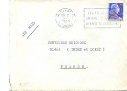 REUNION SAINT-DENIS OMec SECAP 19-12-1958 COLLER LE TIMBRE / EN HAUT ET A DROITE / DU RECTO DE L'ENVELOPPE - Storia Postale