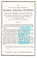 DP Albertine Mousny ° Langlire Montleban Gouvy 1877 † Recogne Noville Bastogne 1944 X Florentin Briol - Andachtsbilder