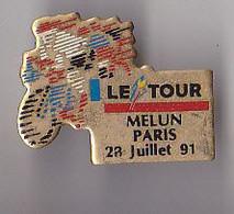 PIN'S THEME SPORTS / CYCLISME TOUR DE FRANCE  28 JUILLET 1991  ETAPE  MELUN PARIS - Ciclismo