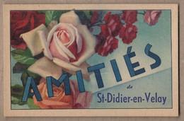 CPA 43 - SAINT-DIDIER EN VELAY - Amitiés De St-Didier-en-Velay - TB CP FANTAISIE Avec FLEUR ROSE Sur Le Village - Saint Didier En Velay