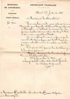 Lettre Au Sénateur BOUTEILLE Par Le Ministère De L'Intérieur Le 25 Septembre1889 Concernant Une Lersonne De DAUPHIN 04 - Historische Dokumente