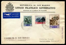 G43-29 SAN MARINO 1950 FDC 28a Fiera Di Milano, Serie Completa Su Busta Primo Giorno Emissione Non Viaggiata, Ottime Con - Covers & Documents