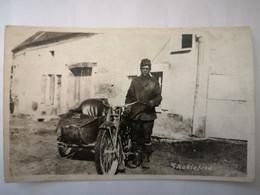 Moto Side Car Harley Davidson - WW1 US Army Soldat Américain - Shakleford ? - Carte Photo - Motos