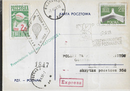 POLONIA - BALLON POST DA BIERUSKO 7.6.59 PER POZNAN 9.5.50 SU CARTOLINA EXPRESS - Ballonpost