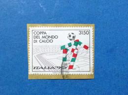 1988 ITALIA 90 COPPA DEL MONDO DI CALCIO MASCOTTE CIAO FRANCOBOLLO USATO ITALY STAMP USED - 1981-90: Gebraucht