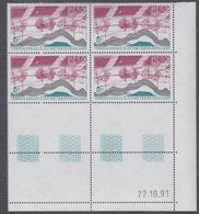 TAAF P. A.  N° 123 XX Satellite Topex  Poseidon En Bloc De 4 Coin Daté Du 20.10.91 à 60 % De La Faciale, Sans Cha., TB - Unused Stamps